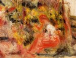young girl seated in a garden by pierre auguste renoir painting