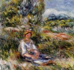 young girl seated in a meadow by pierre auguste renoir painting