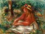 young girl seated on the grass by pierre auguste renoir painting