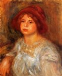 young girl wearing a red hat by pierre auguste renoir painting