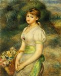pierre auguste renoir young girl with a basket of flowers painting 26600