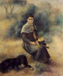 dog watercolor paintings - young girl with a dog by pierre auguste renoir