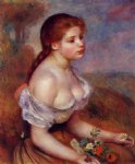 young girl with daisies by pierre auguste renoir painting