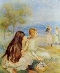 young girls by the sea ii by pierre auguste renoir painting
