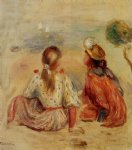 young girls on the beach by pierre auguste renoir painting