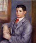 young man in a red tie portrait of eugene renoir by pierre auguste renoir painting