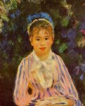 pierre auguste renoir young woman in a blue and pink striped shirt painting