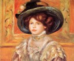 young woman in a blue hat by pierre auguste renoir painting