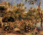 young woman in a garden by pierre auguste renoir painting