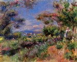 young woman in a landscape cagnes by pierre auguste renoir painting