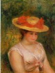 young woman in a straw hat iii by pierre auguste renoir painting