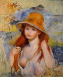 young woman in a straw hat by pierre auguste renoir painting