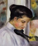 young woman in profile by pierre auguste renoir painting