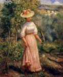 young woman in red in the fields by pierre auguste renoir painting