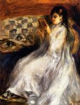 young woman in white reading by pierre auguste renoir painting
