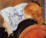 young woman reading an illustrated journal by pierre auguste renoir painting