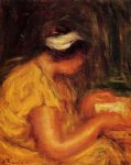young woman reading by pierre auguste renoir painting