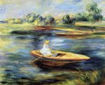 young woman seated in a rowboat by pierre auguste renoir painting