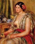 oriental art - young woman seated in an oriental costume by pierre auguste renoir