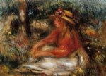 young woman seated on the grass by pierre auguste renoir painting