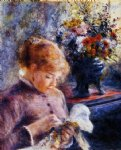 young woman sewing by pierre auguste renoir painting