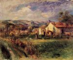 young woman standing near a farmhouse in milly by pierre auguste renoir painting