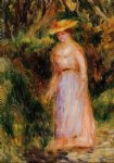 young woman taking a walk by pierre auguste renoir painting