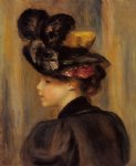 young woman wearing a black hat by pierre auguste renoir painting