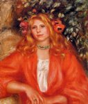 pierre auguste renoir young woman wearing a garland of flowers painting