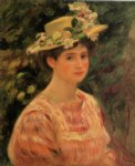 pierre auguste renoir young woman wearing a hat with wild roses painting