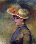 young woman wearing a hat by pierre auguste renoir painting