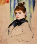 young woman with a bun in her hair by pierre auguste renoir painting