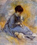 dog watercolor paintings - young woman with a dog by pierre auguste renoir