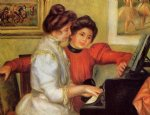 pierre auguste renoir yvonne and christine lerolle at the piano painting