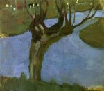 irrigation ditch with mature willow by piet mondrian art