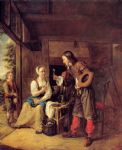 a man offering a glass of wine to a woman by pieter de hooch painting