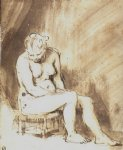 nude art - a seated female nude by rembrandt van rijn
