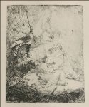 lion print - a small lion hunt with a lioness by rembrandt van rijn