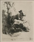 rembrandt van rijn a woman beneath a tree painting 25519