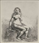 rembrandt van rijn a woman sitting on a hillock painting