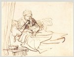 rembrandt van rijn a woman sitting up in bed painting