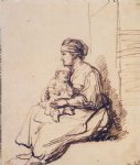 rembrandt van rijn a woman with a little child on her lap painting