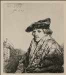 rembrandt van rijn a young man seated turned to the left painting