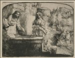 jesus original paintings - jesus and the smaritan woman an arched print by rembrandt van rijn
