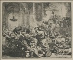 jesus watercolor paintings - jesus driving out the money changers by rembrandt van rijn