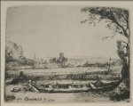 rembrandt van rijn original paintings - landscape with a canal and large boat by rembrandt van rijn