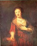 rembrandt van rijn portrait of saskia with a carnation painting-25715