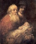 jesus original paintings - simon with jesus by rembrandt van rijn