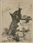 rembrandt van rijn st. jerome writing seated near a large tree painting 25781