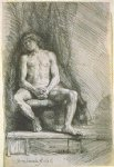 nude art - study from the nude man seated before a curtain by rembrandt van rijn